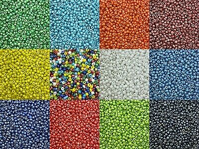 50g glass seed beads - Opaque Lustered, size 8/0 (approx 3mm) choice of colours