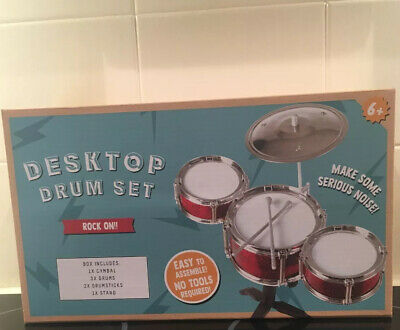 Kids Desk Top Drum Kit Miniature Musical Instrument Fun Novelty Toy Gift (NEW)