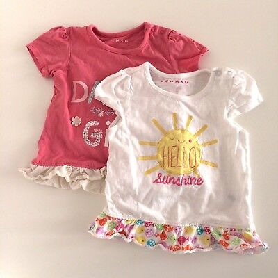 Two Baby Girls NUTMEG Pink White Short Sleeve Tops Size 12-18 Months