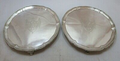 Good pair Antique Georgian Sterling silver salvers, 1777, 716 grams, 8 inches
