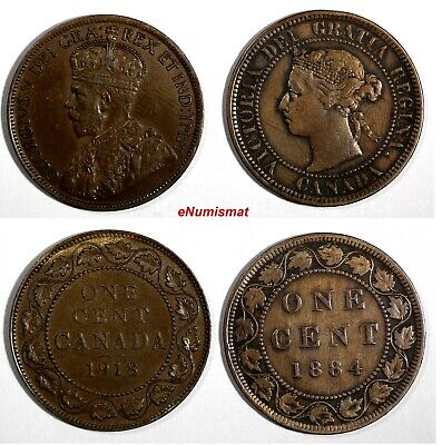 CANADA LOT OF 2 COINS Victoria 1884 1 Cent KM# 7;George V 1918 1 Cent KM# 21