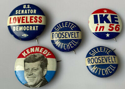 Collection Midcentury Political Buttons Kennedy Loveless Ike Roosevelt