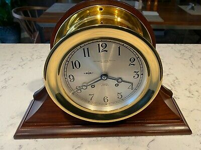 """Chelsea Ship's Bell 8 Day Brass Mantle Clock with 14"""" Mahogany Stand"""