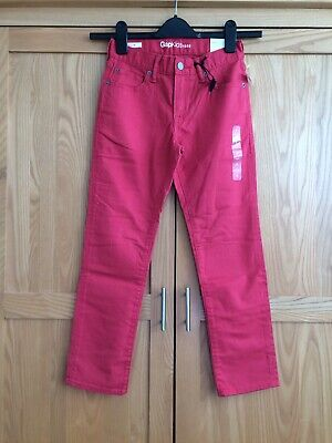 BNWT New Boys Girls GAP Kids Slim Red Jeans Trousers Age 8 Years 132cm Regular