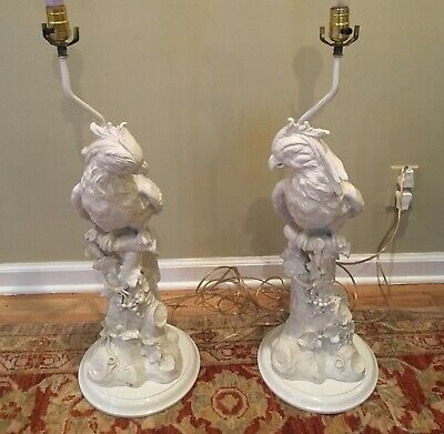 PAIR of Mid Century ITALIAN Cockatoo Lamps Hollywood Regency Blanc de Chine