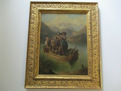 Antique 19Th Century Painting French? Landscape Portrait Old Boat Figures