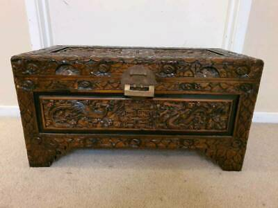 Vintage Oriental Hand Carved Chest With Lock