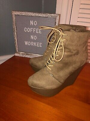 Wild Pair Womens Micro Suede Lace Up Wedge Ankle Booties Size 8.5