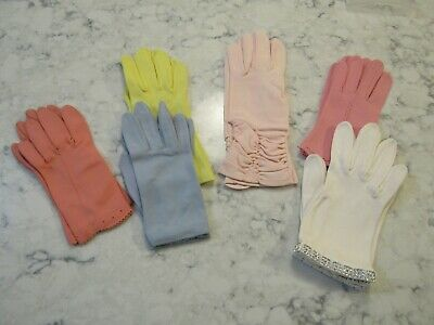 Lot 6 Pairs Vintage Pastel Color Gloves-- 50's -60's  All Clean Condition Lot #3