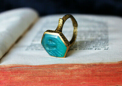 Genuine Antique Medieval Artisan Green Chalcedony Intaglio Ring Size 8 US +++