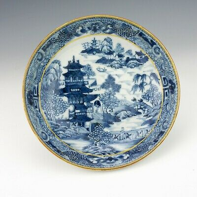 Antique Chinese Porcelain - Blue & White Oriental Scene Dish - Early!