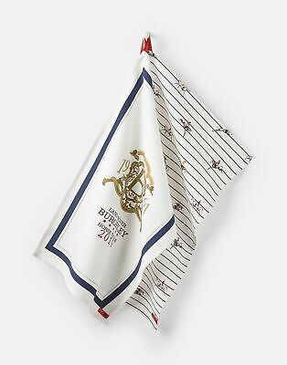 Joules Womens Official Burghley Horse Trials Tea Towel in WHITE BURGHLEY