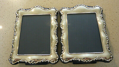 Pair Silver Easel Back Photo Frames Hallmarked Sheffield 1990 Mappin & Webb