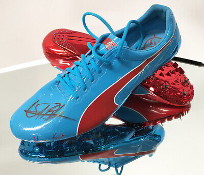 Signed & Used Usain Bolt Puma Running Spikes Floating Display - Olympic Champion