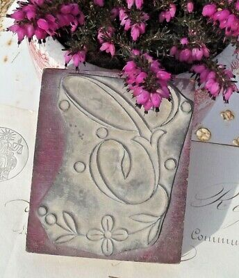 Antique French Printing Block Letter C Monogram Wood Rubber Stamp Seal