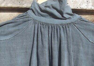Antique French Shirt Chemise Charcoal Grey Linen work smock workwear chores