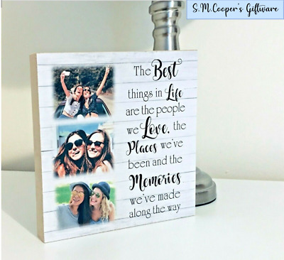 Personalised Best Friend Friendship Birthday Plaque Wooden Block With Photo