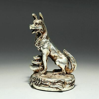 Collectable China Old Miao Silver Hand-Carved Lovely Dog & Wealth Luck Statue