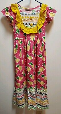 Jelly the Pug Girl's Dress Pineapples Print Pink Yellow Size 8, NWT