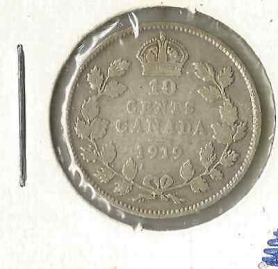 1919 Ten Cent King George V Canada Dime Coin