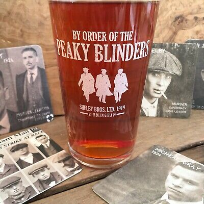Peaky Blinders Pint Glass Tommy Shelby Birthday Xmas Gift Plus 6 FREE Beer Mats