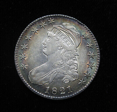 1821 Capped Bust Half Dollar Au O-107 R-3 Colorful Toning