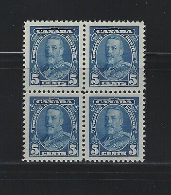 CANADA - #221 - 5c KING GEORGE V PICTORIAL ISSUE MINT BLOCK OF 4 MNH