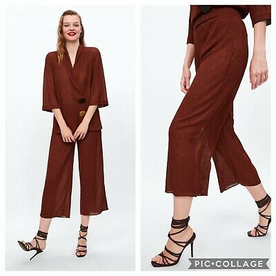 Zara Womens Rustic Wide Leg Shimmer Cropped Trouser Palazzo Pants S New