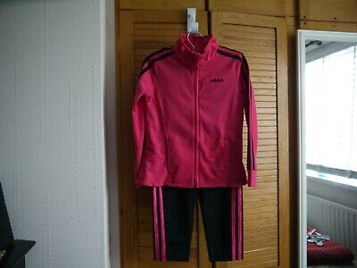 Girls Adidas Track Suit New Age 5 Pink/Black