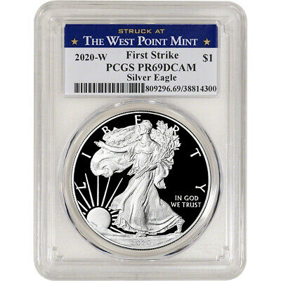 2020-W American Silver Eagle Proof PCGS PR69 DCAM First Strike West Point Label
