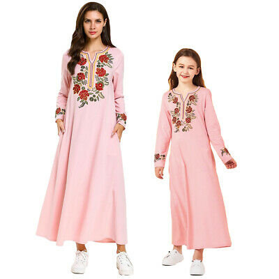 Mother Daughter Muslim Emmbroidery Abaya Long Sleeve Maxi Dress Kaftan Arab Gown