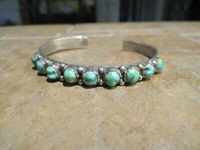 FINE OLD Pawn Navajo Sterling Silver High Dome Turquoise Row Bracelet