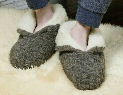 Men's 100% Charcoal  Sheep Wool Boots House Slippers  Sheepskin Suede Sole