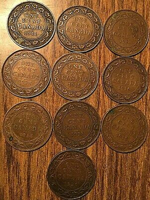 1911 To 1920 Complete Set Of George V Canada Large Cents (10 Coins)