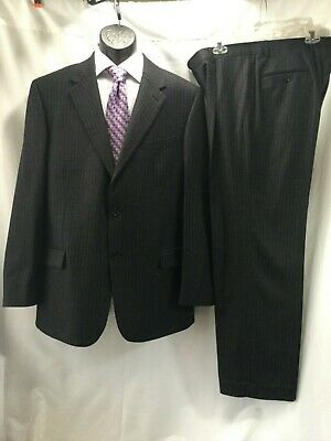 CALVIN KLEIN Mens Large 42 R 2PC Suit Charcoal Gray Striped Wool Coat & Pants