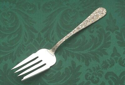 Repousse by S Kirk & Son Sterling Silver Cold Meat Fork 8.5""