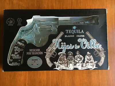Hijos de Villa Tequila Gun Pistol Empty Glass Bottle 200ml with shot glasses