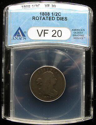 1808 Half Cent Anacs Vf20 With Rotated Dies
