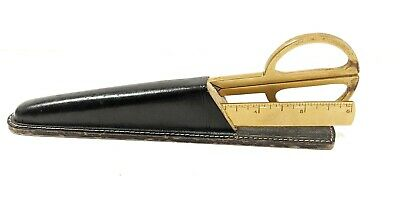 Vintage Scissors and Knife with Sheath Kismet Germany Round Handle Two Tone Gold