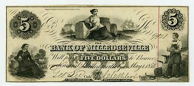 1854 $5 The Bank of Milledgeville, GEORGIA Note