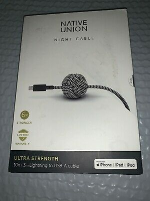 Native Union Night Cable 10ft Lightning to USB-A Cable for Apple New OP