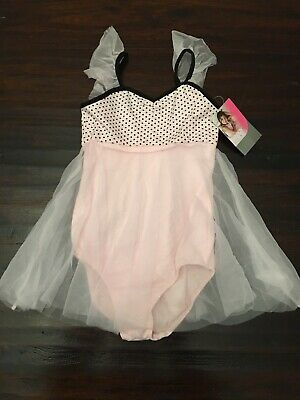 Danskin Now girls Pink, Black Polka Dot dancewear Bodysuit size XS 4-5 NEW