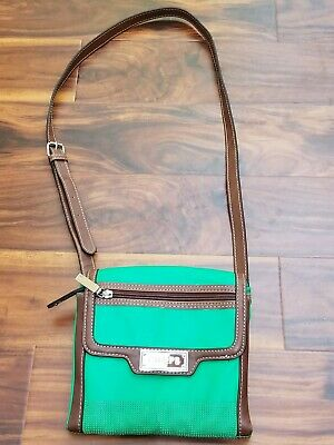 CHAPS Green Brown Crossbody Small Purse Faux Leather Organizer