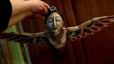ANTIQUE 19c ASIAN WOOD CARVED PAINTED HANGING FLYING WINGED MARMAID SCULPTURE