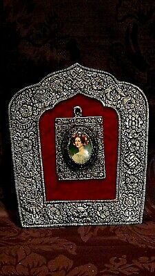 Antique French Portrait Painting On Porcelain Of Victorian Ledy Ornate Sp Frame