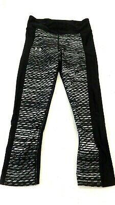 Under Armour Women's Black Grey And White Polyester Cropped Athletic Pants Sz Xs