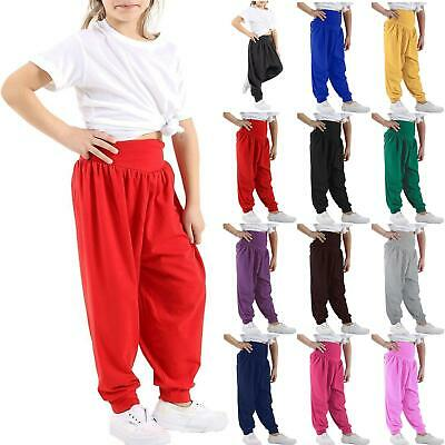 Kids Girls Solid Harem Baggy Full-Length Ali Baba Leggings Bottom Trousers Pants