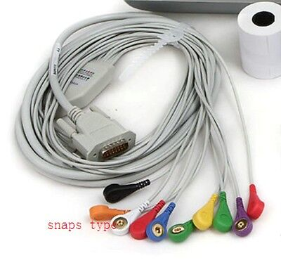 CE Snap Button Banana Shaped electrodes ECG EKG Machine Cable Cardiograph