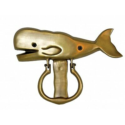 Coastal Gold Whale Doorknocker Polished Brass 8 Inch Moby Dick