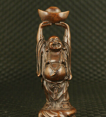 Chinese old bronze hand casting blessing buddha statue figure Collection gift